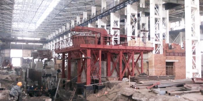 Устройство строительных конструкций для установки печи ДСП - 16 на Бежицком сталелитейном заводе
